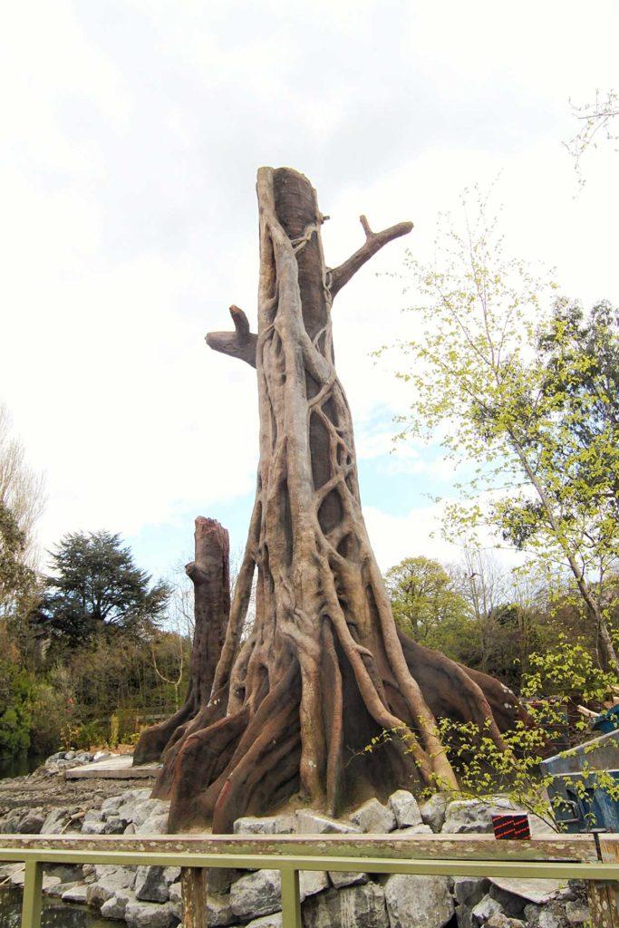 artificial tree in zoo exhibit